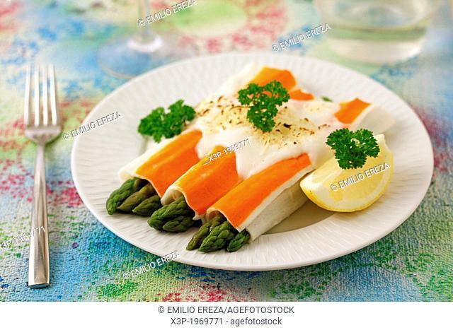 Crab rolls and wild asparagus