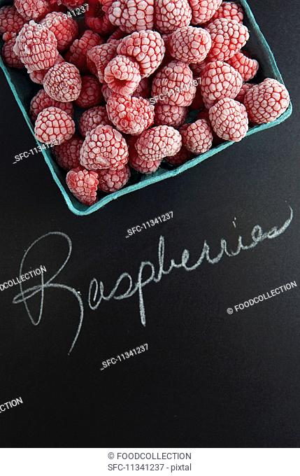 Frozen raspberries with a label