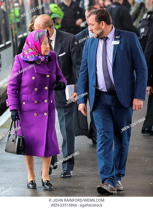 Queen Elizabeth II, accompanied by Prince Philip, arrives at King's Lynn train station to travel to Sandringham for Christmas Day Featuring: Queen Elizabeth II...