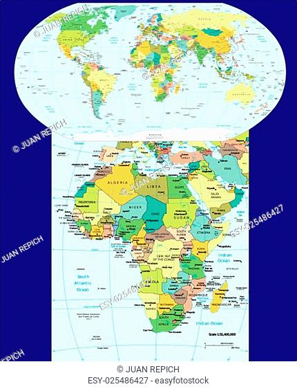 World and Africa region map