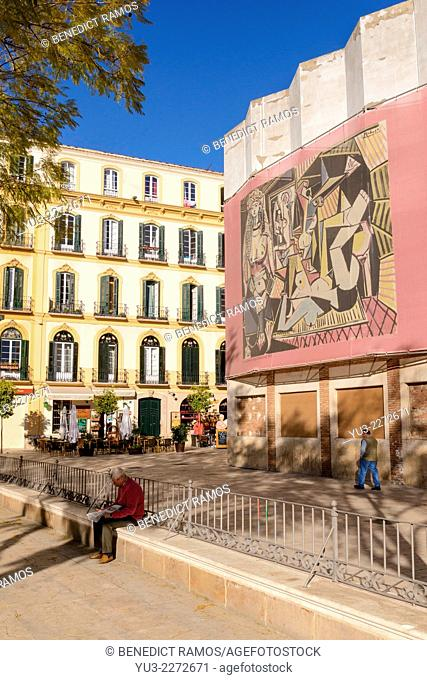 Plaza de la Merced, Malaga, close to Picasso's birthplace. Malaga, Andalucia, Spain