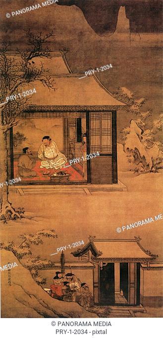 Ancient Chinese painting telling Song Taizu Zhao Kuangyin night visiting Zhaopu