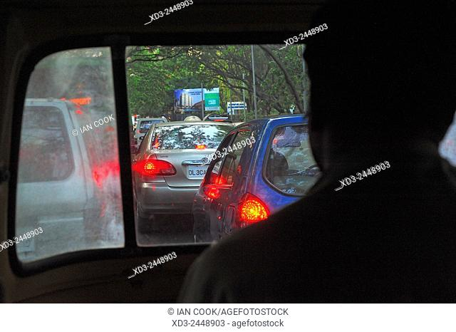 auto-rickshaw in traffic, Bangalore or Bengaluru, Karnataka, India
