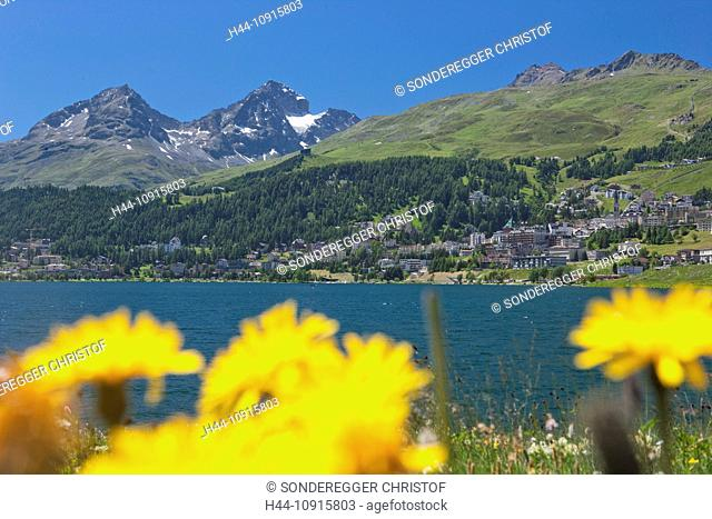 Canton, Graubünden, Grisons, Switzerland, Europe, Engadin, Engadine, Upper Engadine, Saint Moritz, St. Moritz, mountain lake, lake, lake Saint Moritz