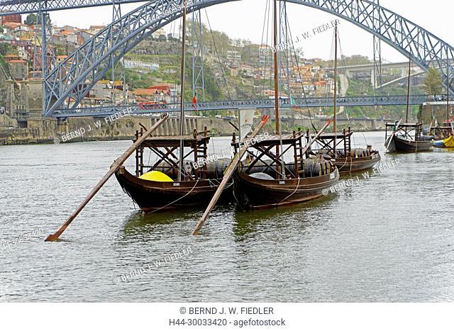 Ponte Dom Luís I, Duoro, Weintransportschiffe, Rabello, historisch, Museumsschiffe