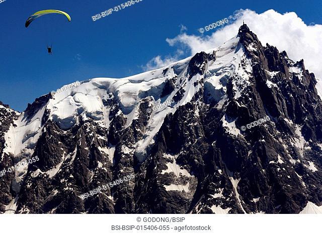 French Alps. Mont Blanc Massif. Paraglading. France
