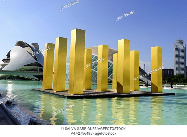 The exhibition 'The sky over Nine Columns' by the german artist Heinz Mack, City of Arts and Sciences, Valencia, Spain, Europe