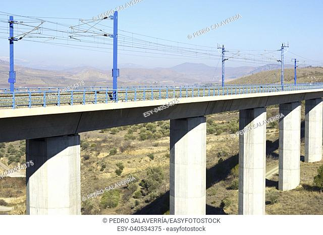 view of a high-speed viaduct in Zaragoza Province, Aragon, Spain. AVE Madrid Barcelona