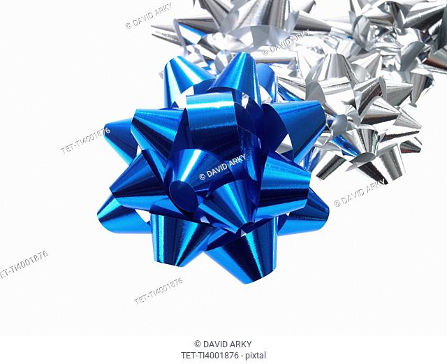Studio shot of Blue and Silver Ribbon on white background