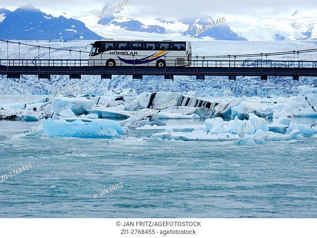 bus and bridge at Jokulsarlon glacier lake, Iceland