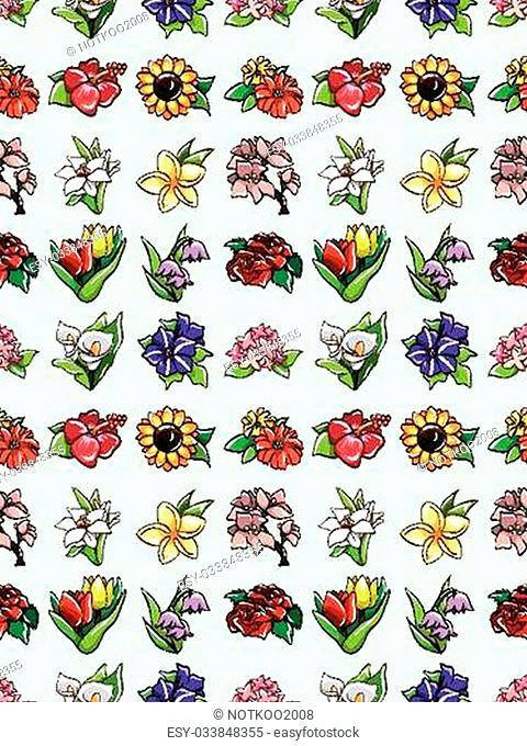 seamless flower pattern,cartoon vector illustration