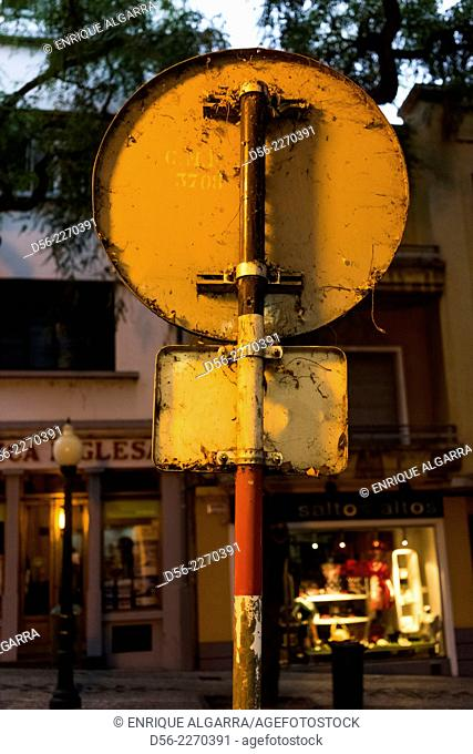 Traffic sign back at sunset, Funchal, Madeira, Portugal