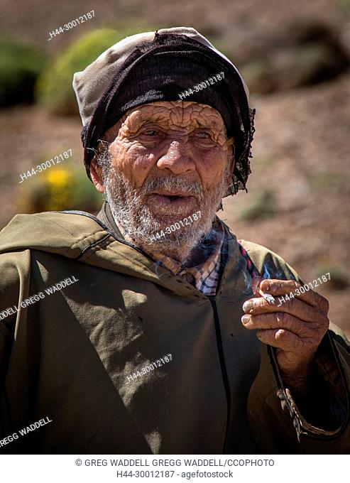 Africa Moroccan Nomadic Camel Herder in The Atlas Mountains