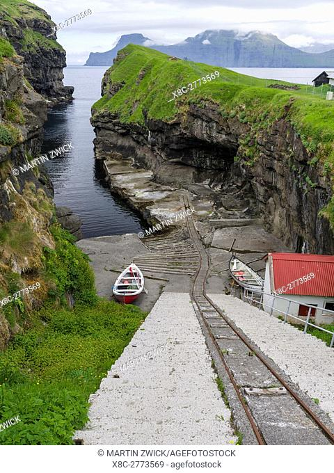 Harbour of village Gjogv, with slipway. The island Eysturoy one of the two large islands of the Faroe Islands in the North Atlantic