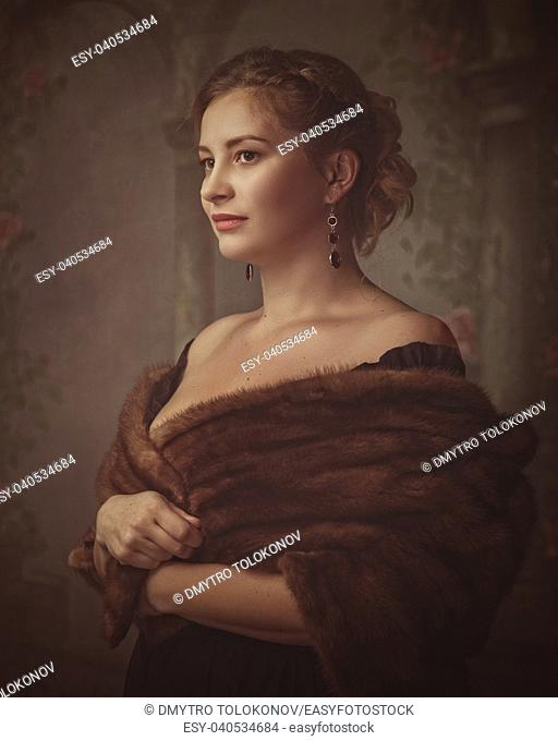 Medieval mysterious female portrait with blurred abstract backgrounds