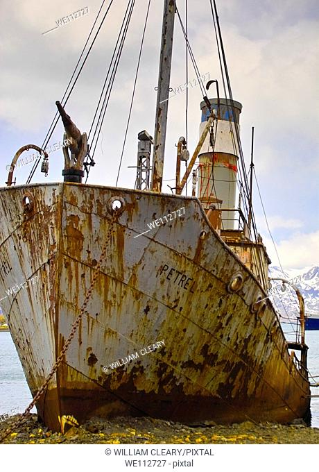 The old Whaler, Petrel, now beached and rusting, at the whaling station at Grytviken, South Georgia.Grytviken is now a research base for the British Antarctic...