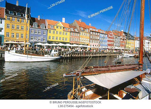 View of Nyhavn in Copenhagen. Denmark