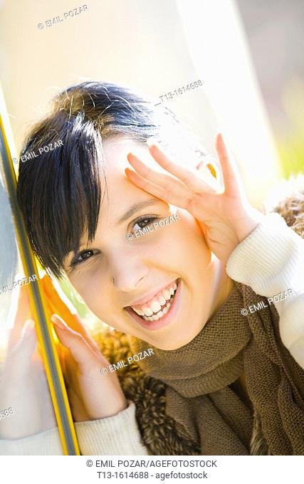 Laughing young woman portrait
