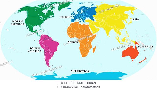 Seven continents world map. Asia, Africa, North and South America, Antarctica, Europe and Australia. Detailed map with shorelines and national borders under...