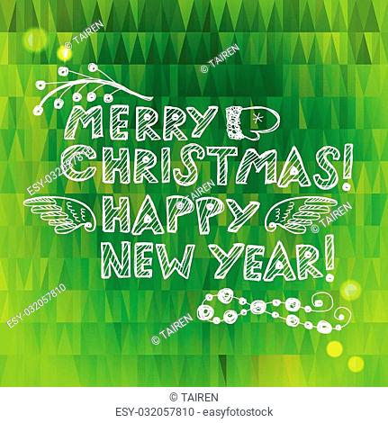 Hand drawn Christmas and New Year greeting card. Eps10