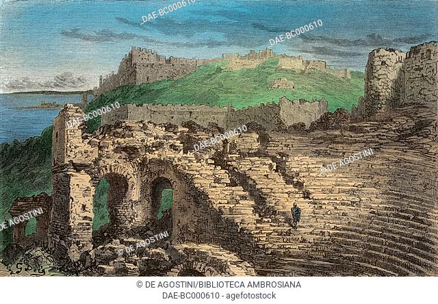Ruins of the Roman theatre in Murviedro, Sagunto, Spain, drawing by Dore, from Travels in Spain by Gustave Dore (1832-1883) and Jean Charles Davillier...