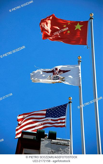 San Francisco, California, U.S.A., the American, Californian and Chinese flags in Chinatown