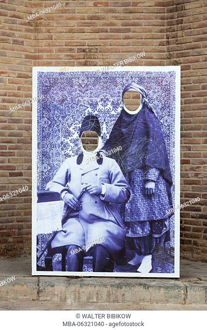 Iran, Southeastern Iran, Kerman, End to End Bazaar, cutout poster for old time photos