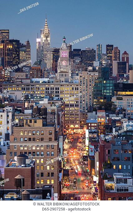 USA, New York, New York City, Lower Manhattan, elevated view of SoHo, dusk
