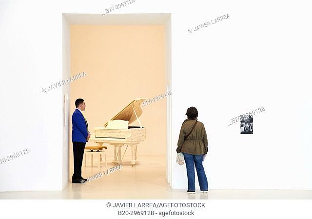 Piano Satie, 1979, Esther Ferrer Art Exhibition, Palacio de Velázquez, Parque del Retiro, Museo Nacional Centro de Arte Reina Sofia, Madrid, Spain, Europe