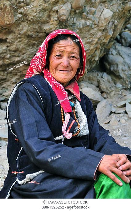 Woman at Hemis Gompa. Jammu and Kashmir, India