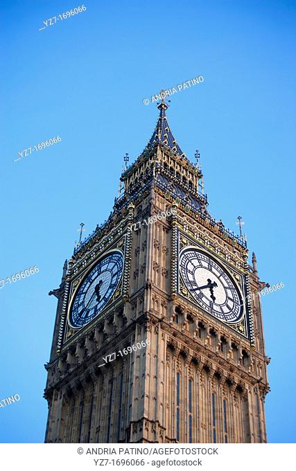 Two faces of Big Ben free standing clock tower, London
