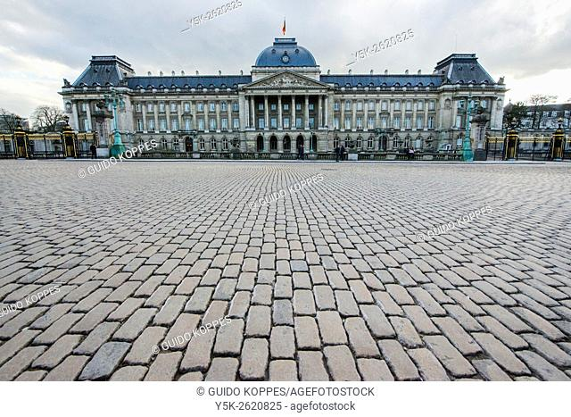 Brussels, Belgium. Facade of the Royal Palace at the Place des Palais