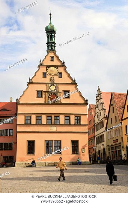 Marktplatz, Rothenburg Ob der Tauber, Franconia, Bavaria, Germany, Europe  Clock Tower in cobbled town square now houses the Tourist Information