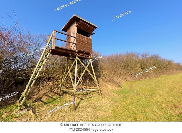 Hunting Blind on meadow, Hesse, Germany, Europe