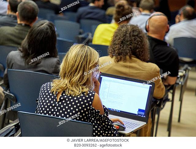 Congressman with laptop, Kursaal Congress Palace, Donostia, San Sebastian, Gipuzkoa, Basque Country, Spain, Europe