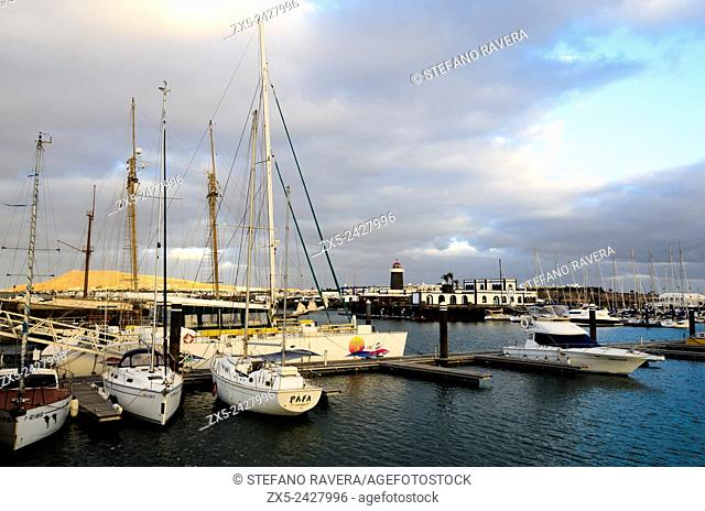 Marina Rubicon harbor in Playa Blanca - Lanzarote, Canary Islands