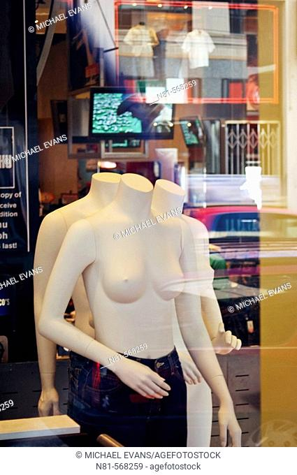 Topless mannequins in store window. San Francisco. California. USA