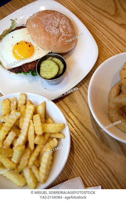 Burger with fried Egg and Chips