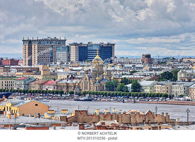 Cityscape and Russian Orthodox Church of the Assumption of the Blessed Virgin Mary on the Neva River, Saint Petersburg, Russia