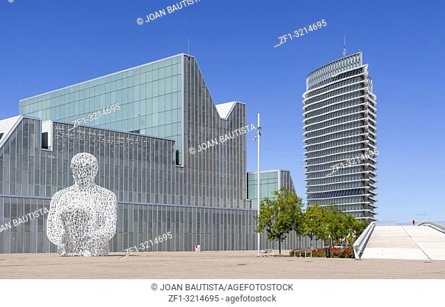 Modern architecture, buildings in Expo 2008 site, Tower, Torre del Agua and Congress Palace and sculpture by Jaume Plensa, Zaragoza, Spain