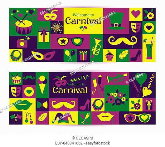 Bright vector carnival banners and sign Welcome to Carnival. Retro style