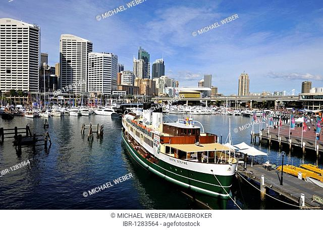 Darling Harbour, skyline of the Central Business District, Sydney, New South Wales, Australia