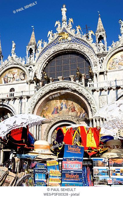 Italy, Venice, Basilica di San Marco, souvenir stall in foreground