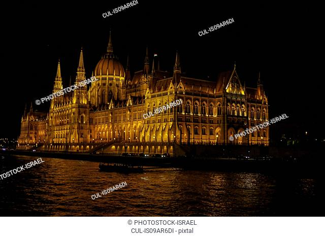 View of the Danube and Hungarian Parliament at night, Budapest, Hungary