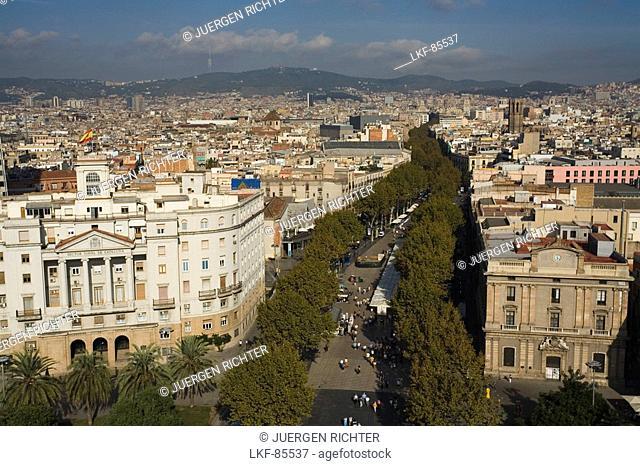 La Rambla, bird eye view from Monument a Colom, Les Rambles, Ciutat Vella, Barcelona, Spain