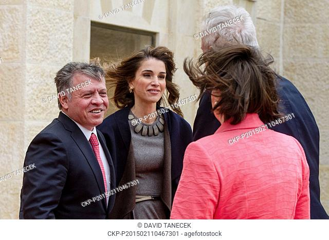 Czech president Milos Zeman with his wife Ivana (right) meets King Abdullah II (left) and Queen Rania (second from left) in their palace in Amman, Jordan