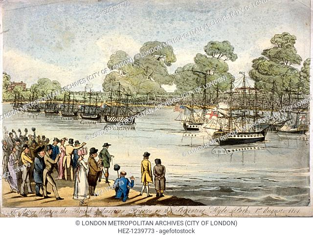 Hyde Park, London, 1814. View of a series of naval engagements which were re-enacted in miniature during the 1814 peace celebrations; showing the action between...
