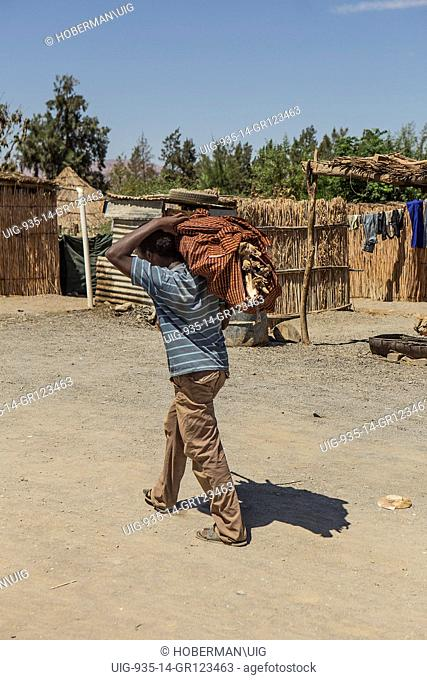 African man carrying wood