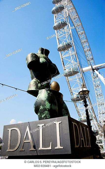 The London Eye and Dali's sculpture, London, Great Britain, UK