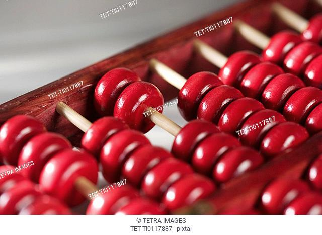 Closeup of a wooden abacus
